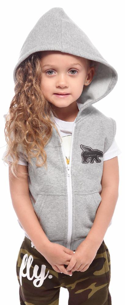 Toddler No-Sleeve Zip-Up Hoodie: Grey