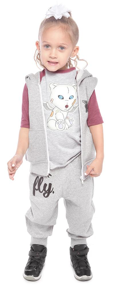 Toddler No-Sleeve Zip-Up/Jogger Combo: Grey