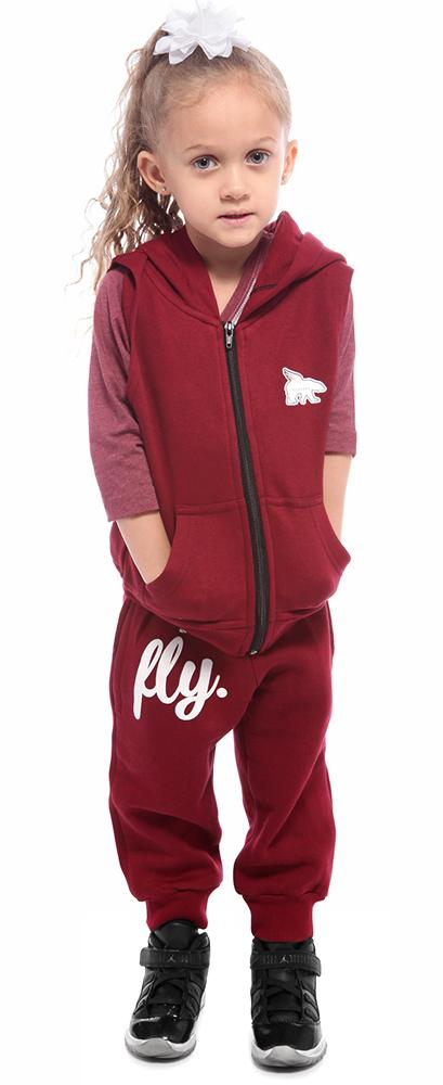 Toddler No-Sleeve Zip-Up/Jogger Combo: Maroon
