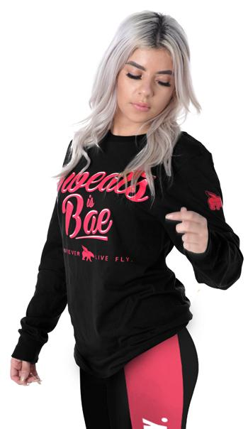 Sweats is Bae Long Sleeve Tee: Black/Pink