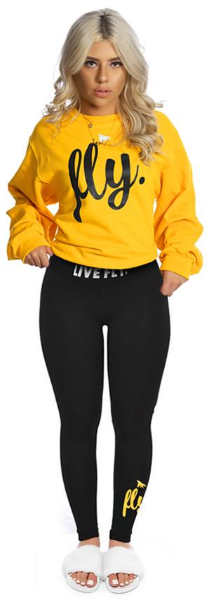 ***LIMITED STOCK*** Live Fly Legging & Crew Outfit: Gold/Black
