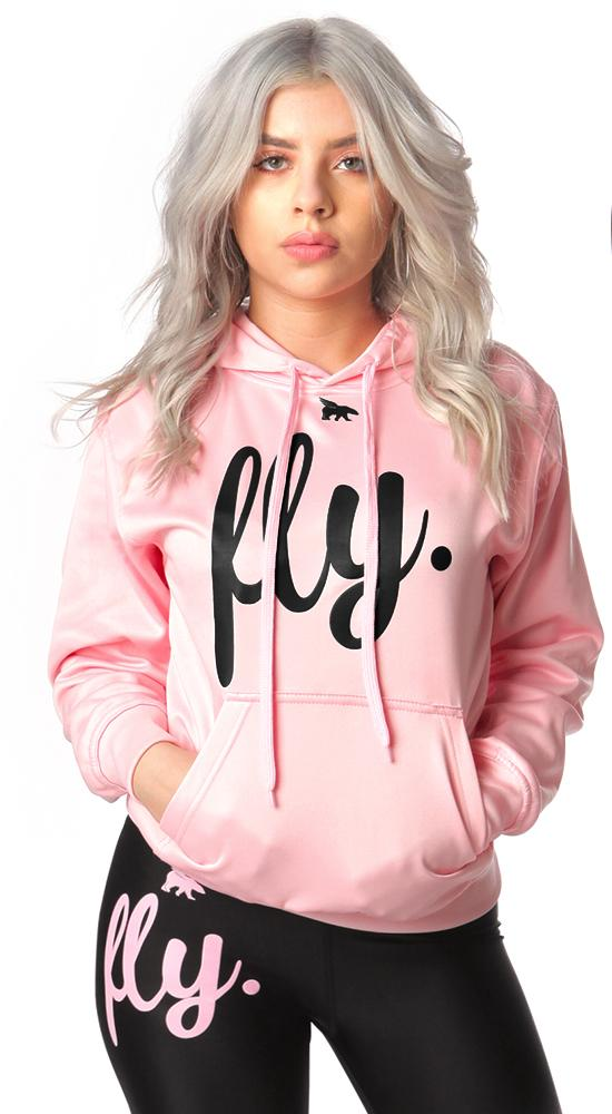 Lifestyle Comfort Hoodie: Cotton Candy Pink Black Print
