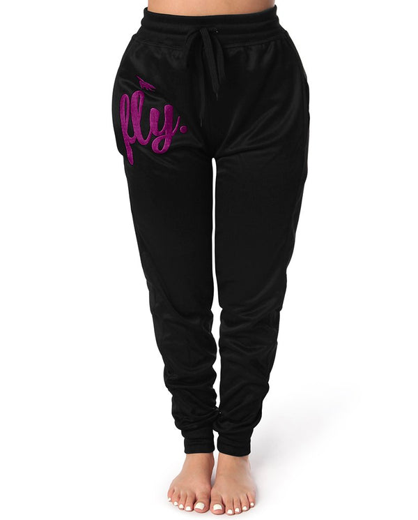 Lifestyle Feel Good Joggers: Jet Black (BERRY PURPLE)