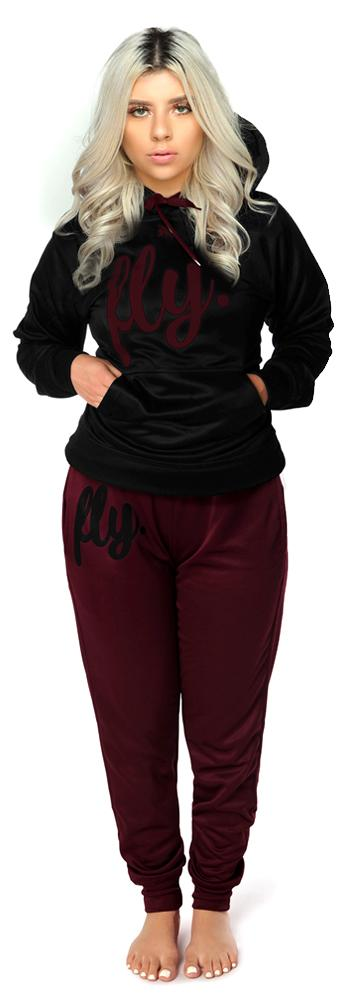 Lifestyle Comfort Hoodie OUTFIT: Jet Black/Burgundy Wine