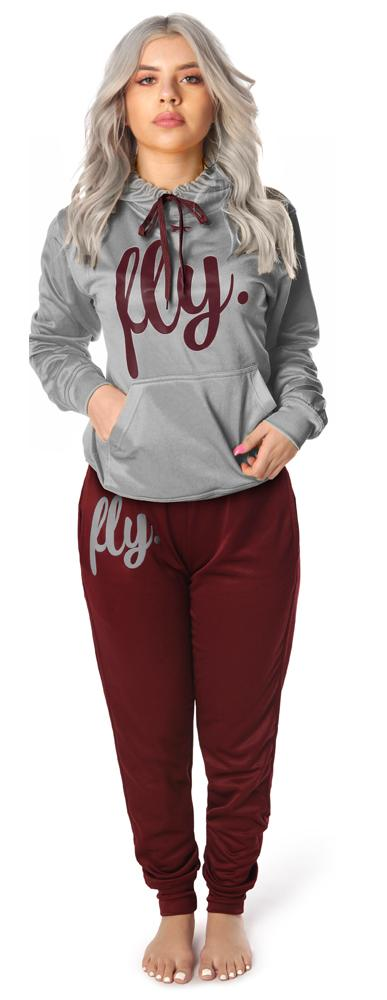 *LIMITED RELEASE* Lifestyle Comfort Hoodie OUTFIT: Silver Grey/Burgundy Wine