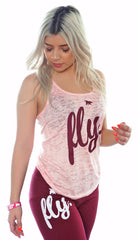 FLY. Tank - Burnout Light Pink/Maroon