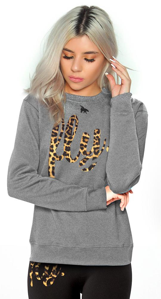 *LIMITED RELEASE* Lifestyle Crew w/ Leopard Print: Oxford Grey