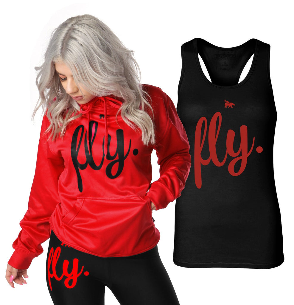 Lifestyle Hoodie & Tank Combo: Fiery Red/Black