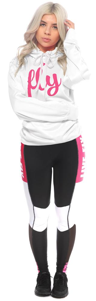 Color Block Mesh Leggings: Pink/Black/White
