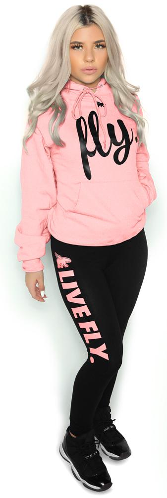 FOREVER LIVE FLY. OUTFIT: Light Pink Hoodie/Black Leggings