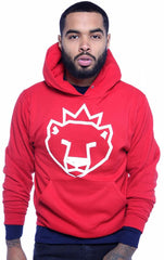 Arctic King Polar Bear Face HOODIE - RED