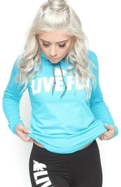 FOREVER LIVE FLY. Sports Hoodie Tee: TEAL