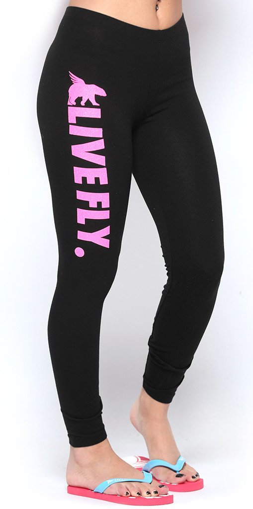 LIVE FLY. Lounge Leggings w/ Pink Glitter Print