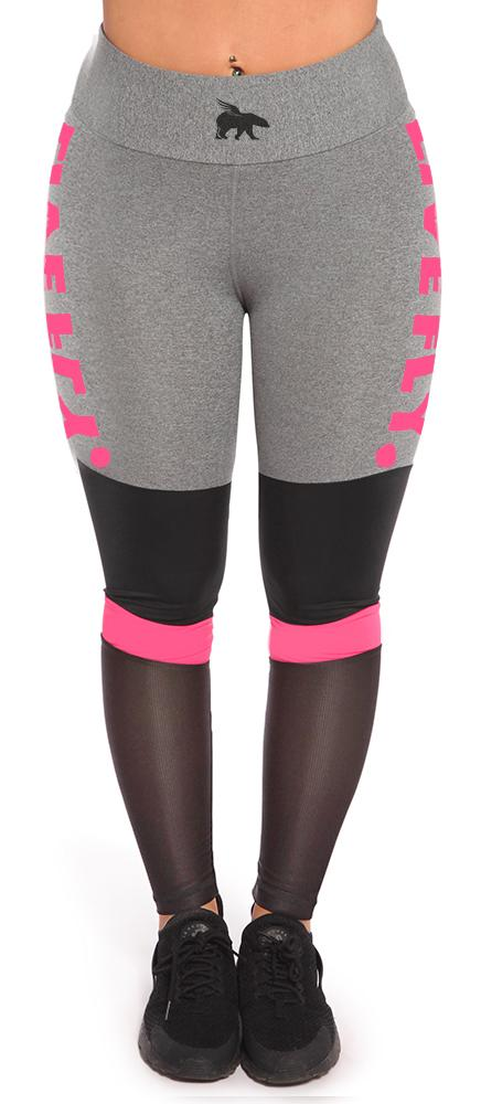 Ultra Styled High Waist Mesh Leggings: Heather Grey/Pink/Black