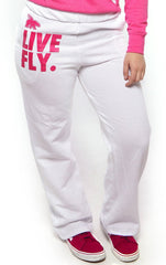 FOREVER LIVE FLY. COMFORT Sweatpants: White w/PINK Print (UNISEX FIT)