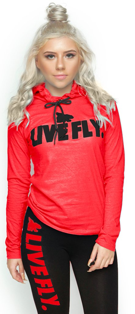 FOREVER LIVE FLY. Sports Hoodie Tee: RED