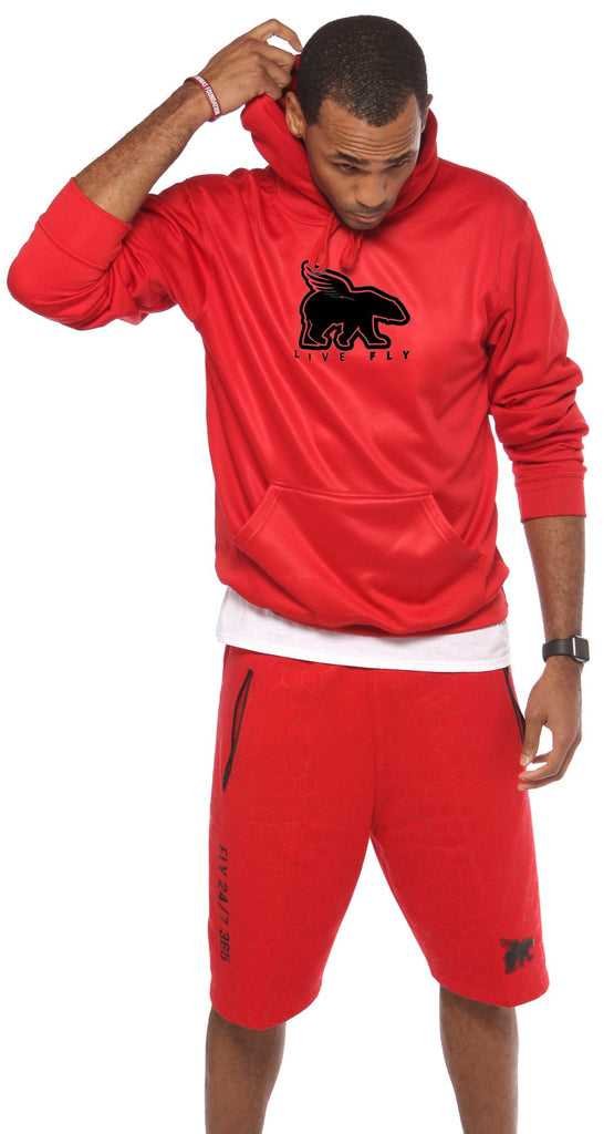 LIVE FLY Lifestyle Hoodie & Shorts Outfit - Red