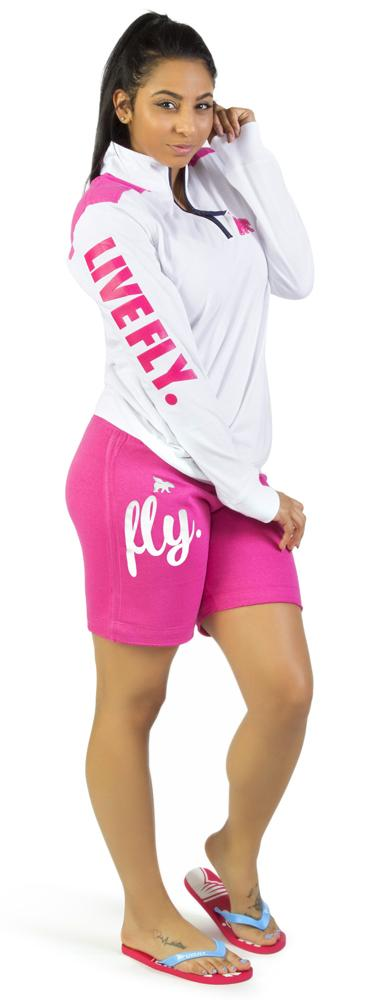 Varsity Branded Pullover & Shorts Set: WHITE/PINK