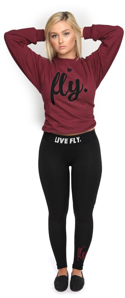 Live Fly Legging & Crew Outfit: Maroon/Black