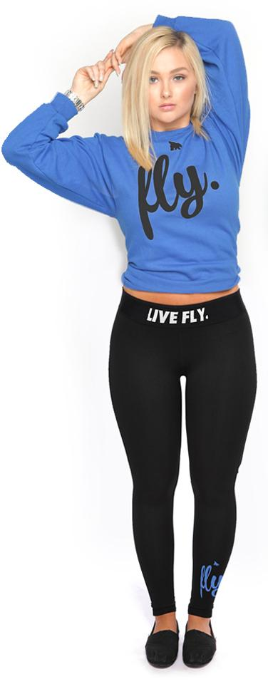 Live Fly Legging & Crew Outfit: Royal/Black