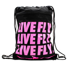 LIVE FLY. GLITTER Drawstring BackPack: Black/Pink Print