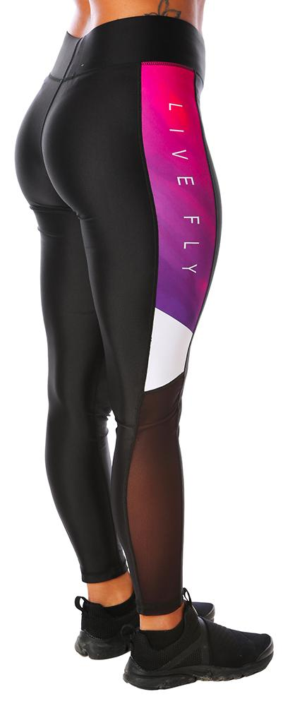 Hi-Waist Side Panel Mesh Leggings: Purple Splash