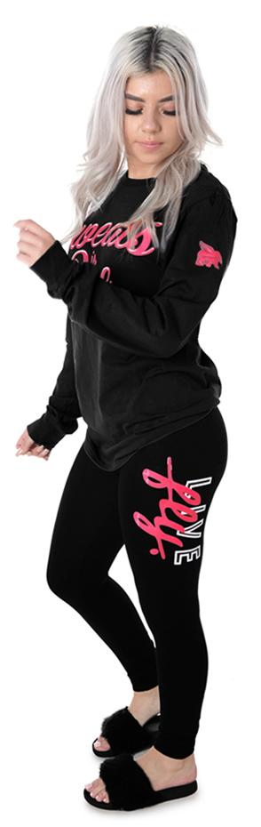 LIVE FLY Campus Leggings: Pink/Black