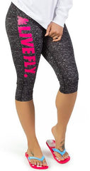 LIVE FLY. Capri Sports Leggings: Digital Black/Pink