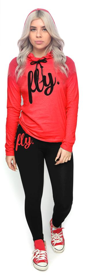 Lifestyle Hoodie Tee & Legging Outfit: Red/Black