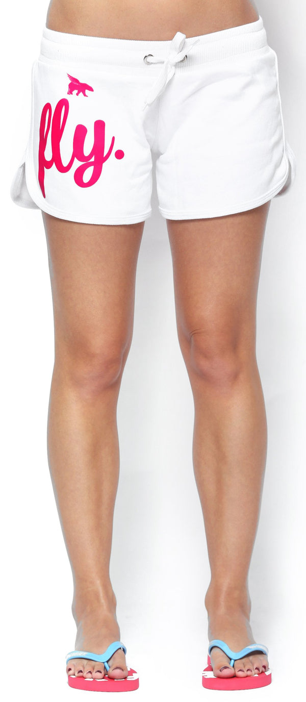 FLY. ALL DAY Lounging Shorts: White