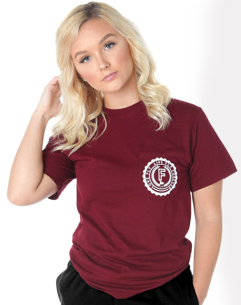 Campus Pocketed Tee: Maroon