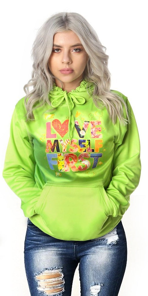 *FREE TODAY* LOVE MYSELF FIRST Lifestyle Hoodie: LIME