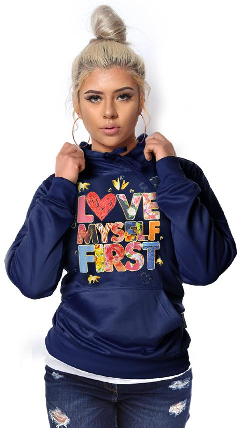 *LIMITED* LOVE MYSELF FIRST Lifestyle Hoodie: Navy Blue