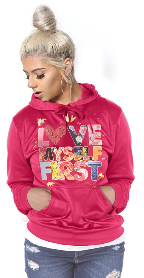LIMITED* LOVE MYSELF FIRST Lifestyle Hoodie: Very Pink