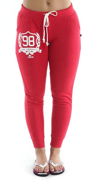 LOVE YOURSELF Fitted Joggers - RED