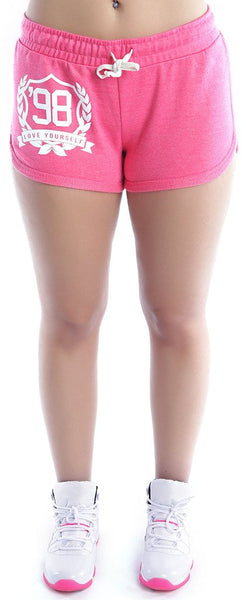 LOVE YOURSELF Lounging Shorts: PINK