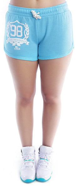 LOVE YOURSELF Lounging Shorts: TEAL