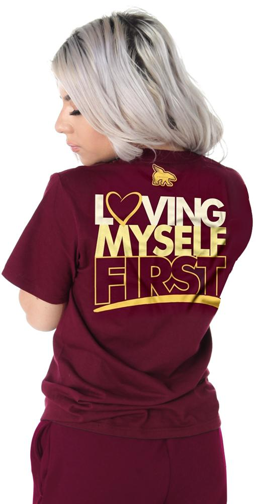 Loving Myself First Hangout Tee: Maroon
