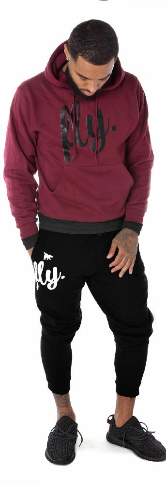 Feel Good Comfort Outfit: Maroon Hoodie/Black Joggers (UNISEX FIT)_m
