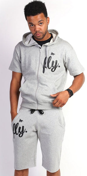 FLY. MENSZIP-UP SHORTS OUTFIT - GREY