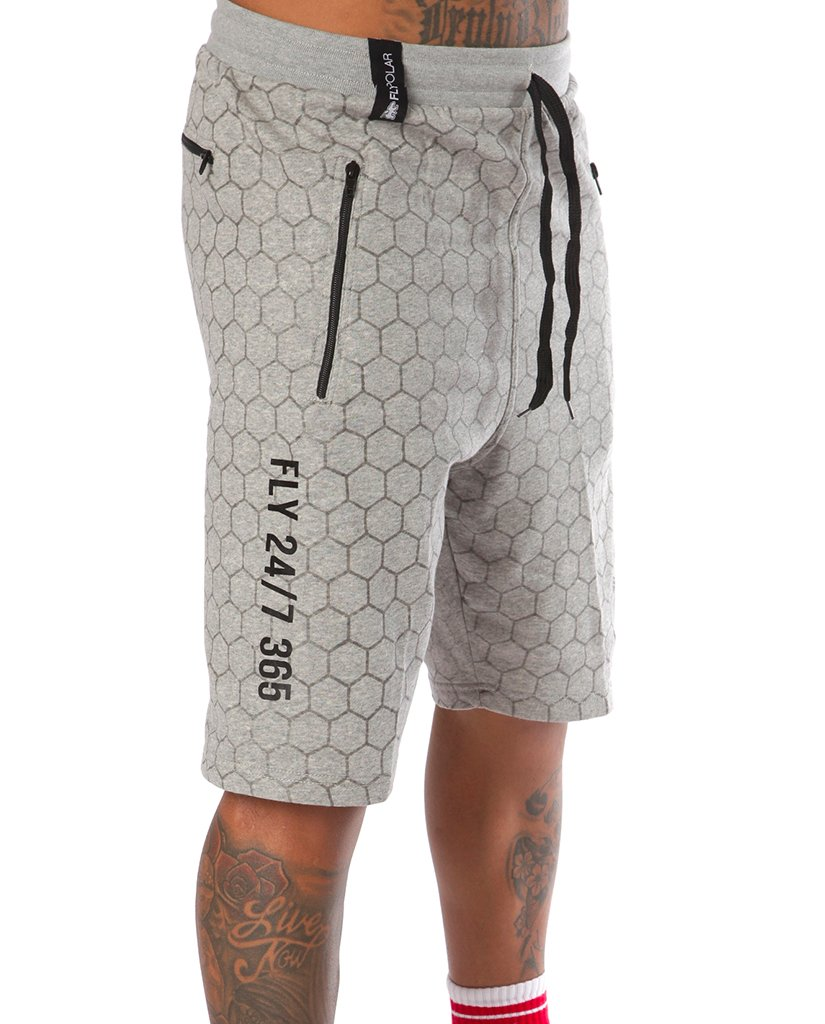 FLY 24/7 365 Pocketed Zip Shorts: Grey
