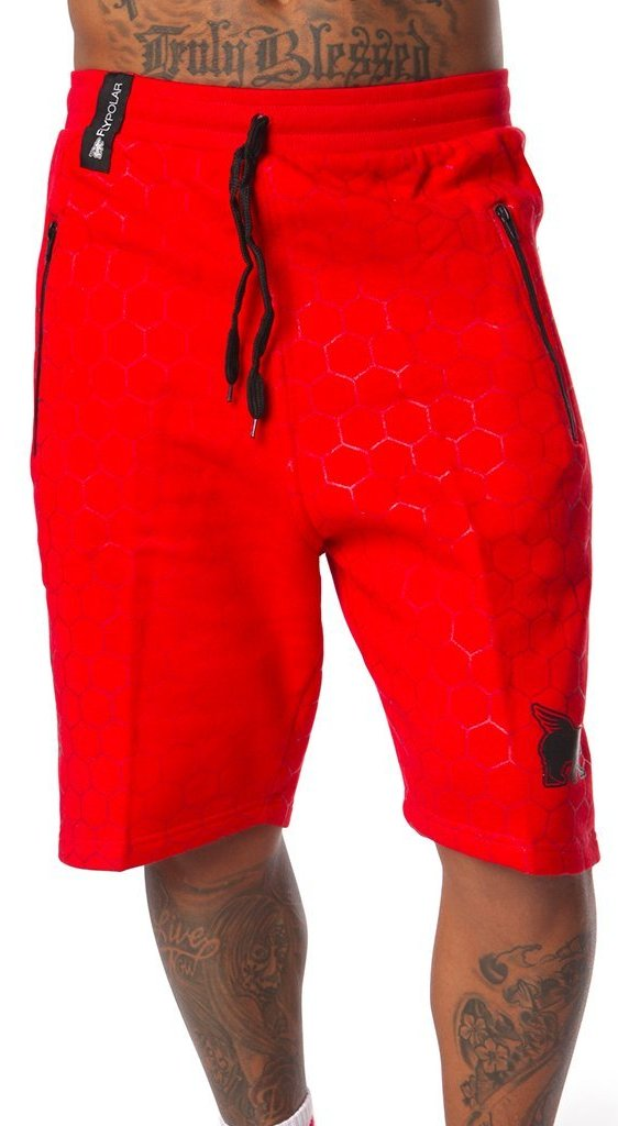 FLY 24/7 365 Pocketed Zip Shorts: Red