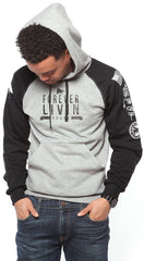 FOREVER LIVIN YOUNG 2-TONE HOODIE - BLACK/GREY