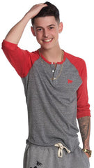 Mens Lounging Raglan: Red/Grey