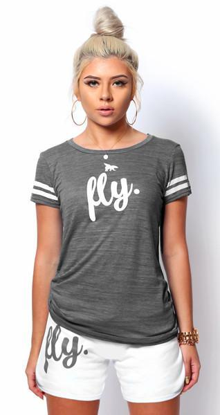 My FAVORITE Sports Top: Grey/White PLUS SIZES ONLY