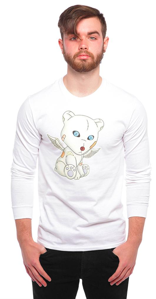 Problem Bear Long-Sleeve Shirt: White