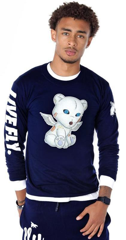 PROBLEM BEAR Long-Sleeve Shirt: Navy