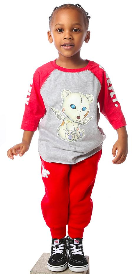 FLY. Toddler Problem Bear Raglan: Red/Grey