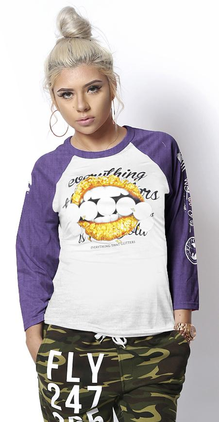 Everything that Glitters Raglan: Heather Purple/Light Grey