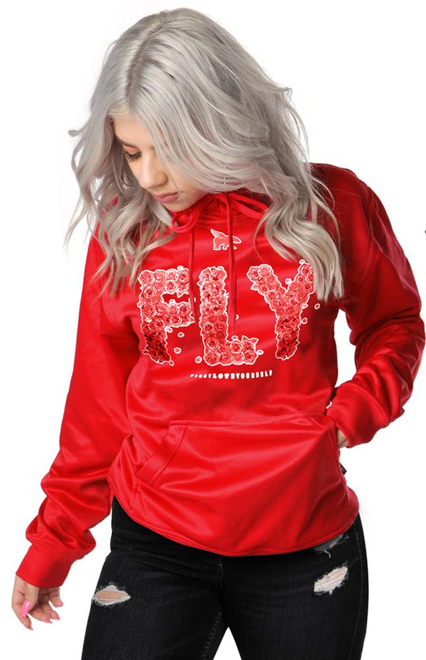 FLY Rose Print Lifestyle Hoodie: Very Red